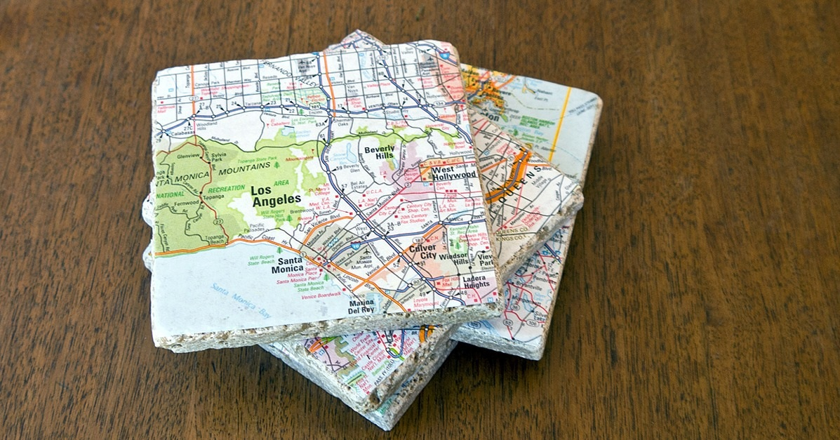 Give Old Maps New Life as Tile Coasters