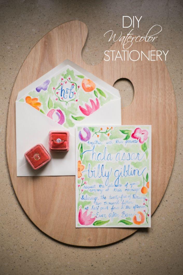 DIY Watercolor Stationery The Bride Link