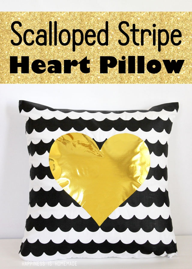 DIY Scalloped Stripe Pillow with Metallic Gold Heart