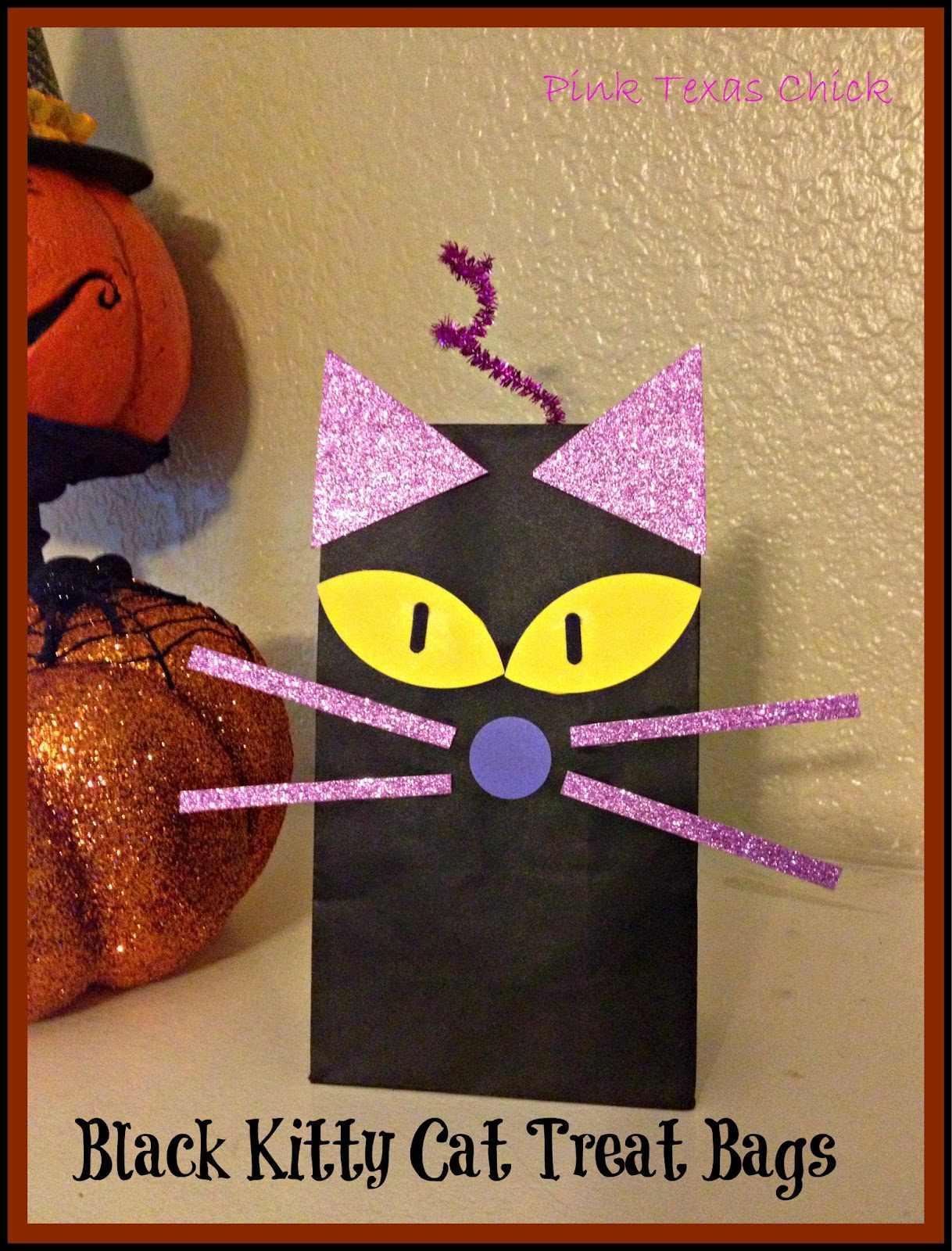 Black Kitty Cat Treat Bags {Halloween}