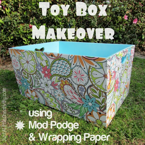 Mod Podge and Wrapping Paper Toy Box Makeover {DIY}