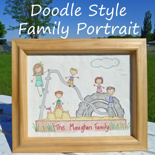 Family Portrait Doodle Style {Great Father's Day Gift}