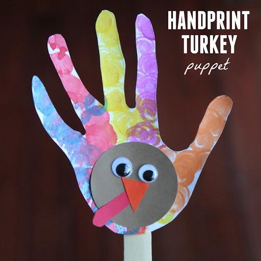 Toddler Approved! Handprint Turkey Puppet