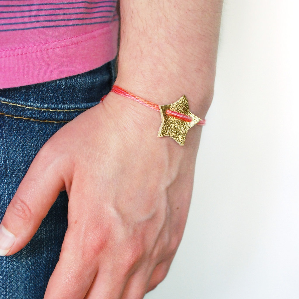 Project wish on a star leather bracelet