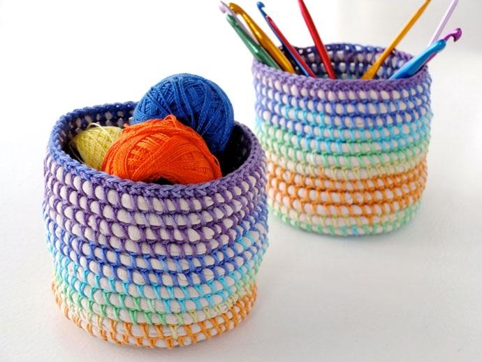 Coil + Crochet Rainbow Basket DIY | My Poppet Makes