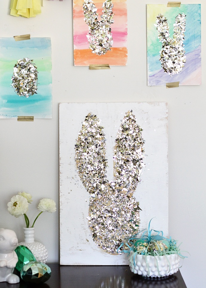 Gold Confetti DIY easter art