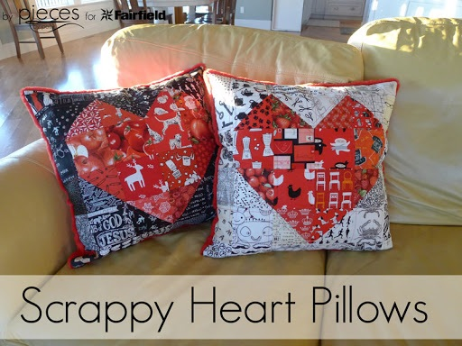 Scrappy Heart Pillows Quilted Pillow with Cuddle Backing