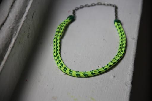 DIY Neon Shoelace Necklace