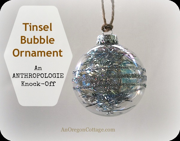 Glitter & Tinsel DIY Ornament {An Anthropologie Knock Off}