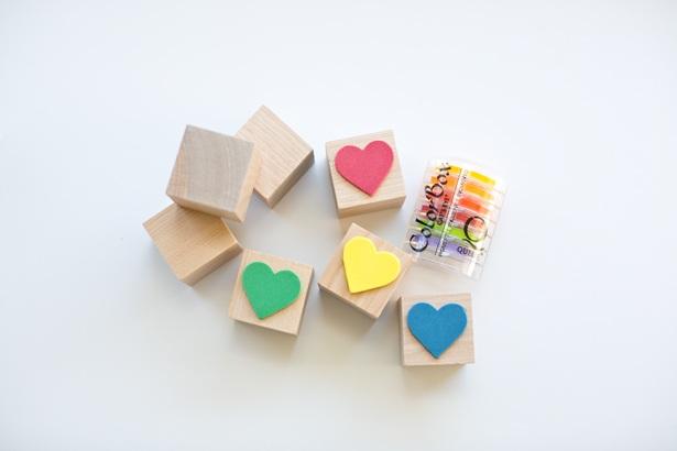 DIY RAINBOW HEART STAMPS