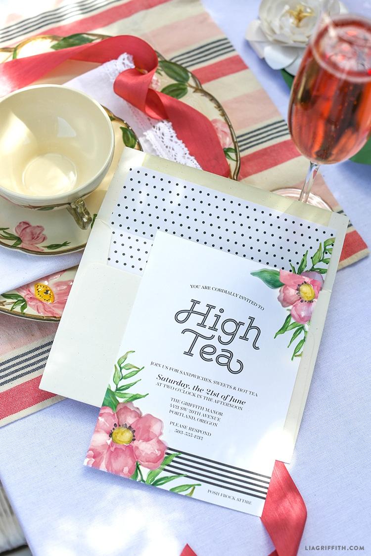 Printable High Tea Party Invitations