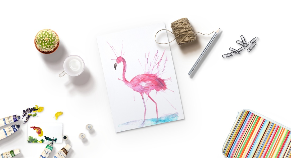 STYLIZED PAINTING USING STRAWS & WATERCOLOR