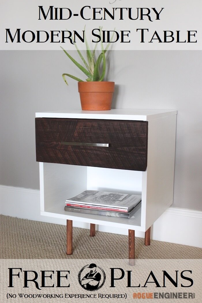 Mid-Century Modern Side Table { Free Plans } Rogue Engineer