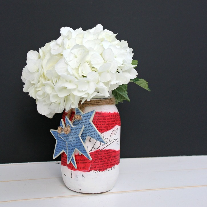 Patriotic Book Page Mason Jar Vases - View From The FridgeView From The Fridge