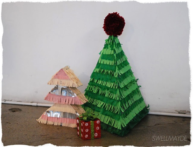 swellmayde: diy | Christmas tree pinatas for hello giggles