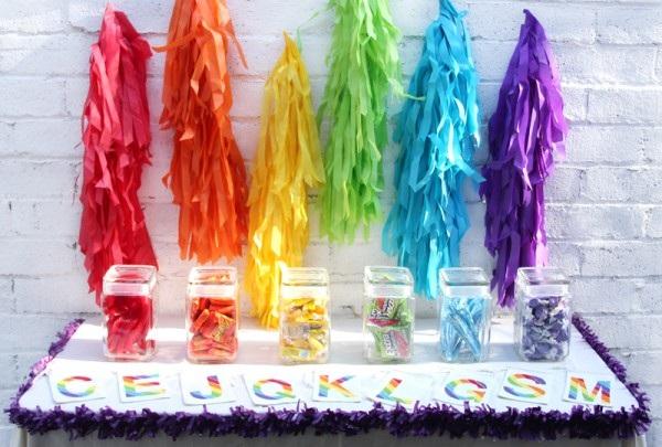 DIY Rainbow Fringe Garland and Backdrop