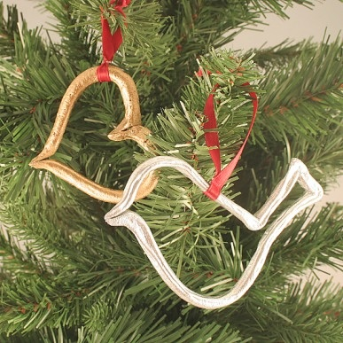 Gilded Salt Dough Heart and Bird Ornaments