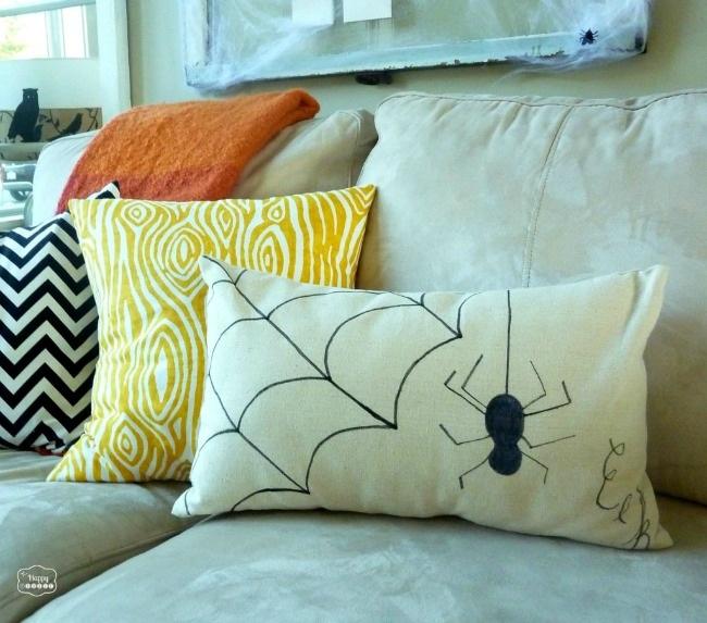 DIY Dropcloth Sharpie Pillow for Halloween - The Happy Housie