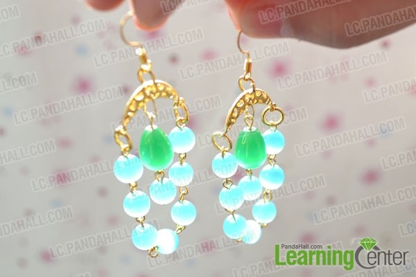 DIY Chandeliers Dangle Earrings with Blue Beads and Gold Pendant Links
