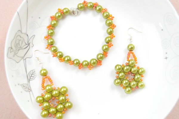 How to Make Olive Pearl Bead Jewelry with Orange Seed Beads at Home