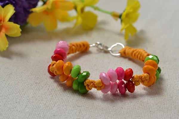 Wax Cord Bracelet Tutorial on Making Bracelets with String and Beads in Candy Color