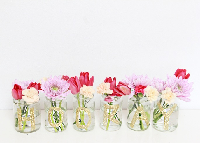 DIY Glitter Monogram Upcycled Glass Jars