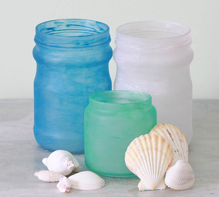 DIY Frosted Beach Glass Jars