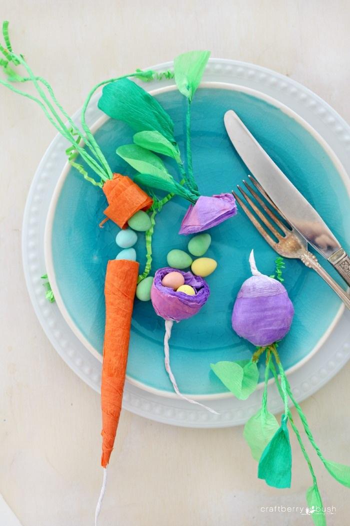 Crepe paper vegetable surprise