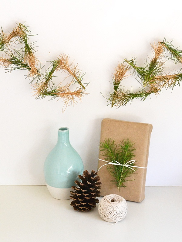 Make + party Gold dipped pine garland for Simply Peachy