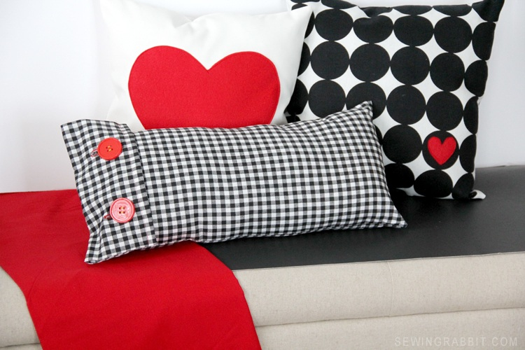 Easy Valentine Plaid + Heart Pillow DIY The Sewing Rabbit