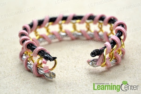 Tutorial on DIY Woven Chain Bracelet with Leather and Pink Suede Cord