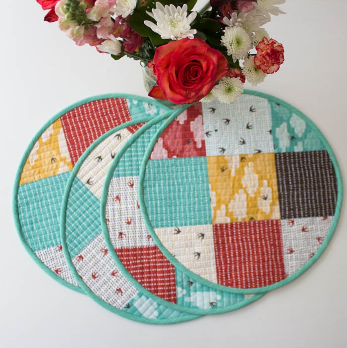 sewing circular quilted placemats tutorial