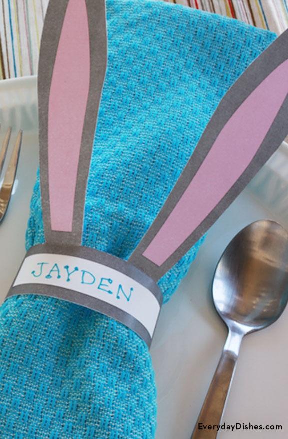 Printable bunny napkin rings