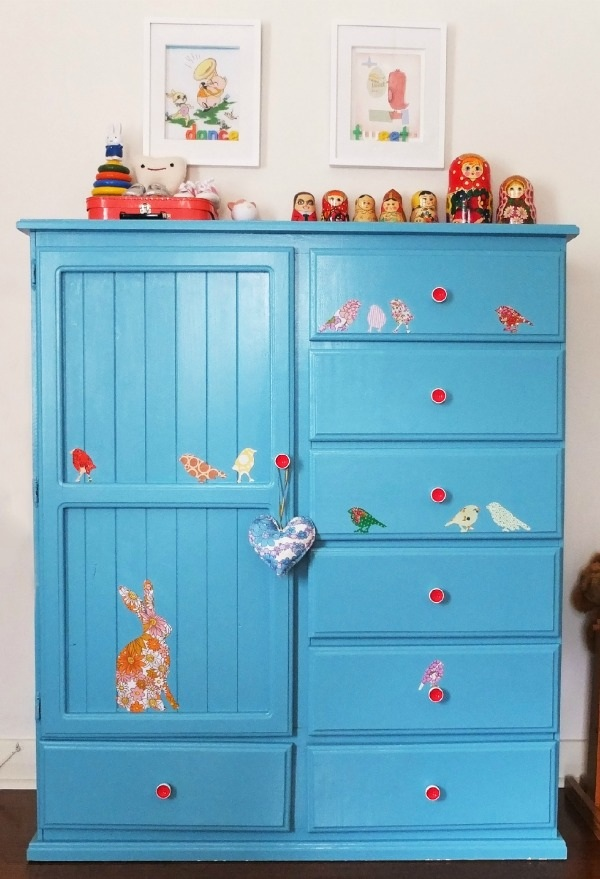 DIY Fabric Decals and Wardrobe Makeover