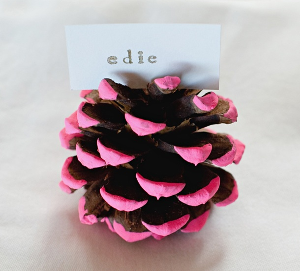 DIY Neon Pine Cone Placecard Holder