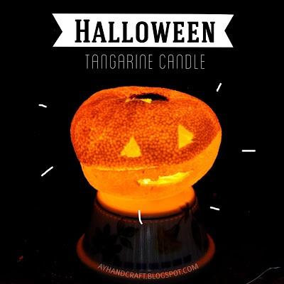Halloween Tangerine Candle Vela hecha con mandarina