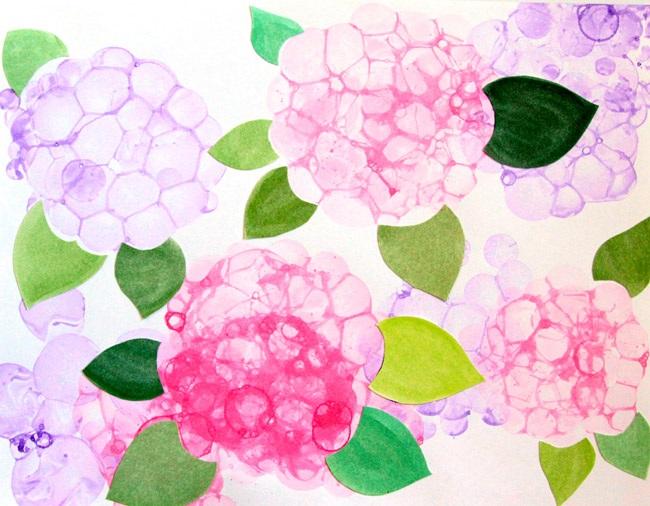 Make Bubble Paint Flower Hydrangeas