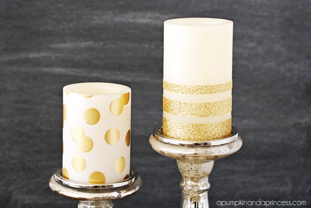 DIY Gold Glitter Candles