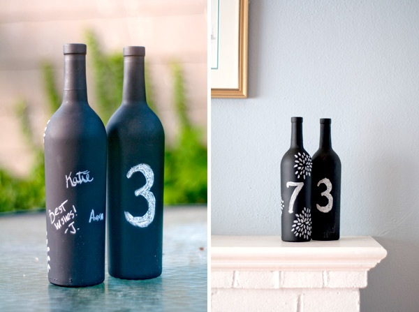 DIY Chalkboard Wine Bottle Table Numbers