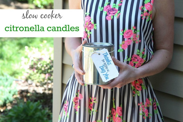 Summer Hostess Gifts: DIY Slow Cooker Citronella Candles