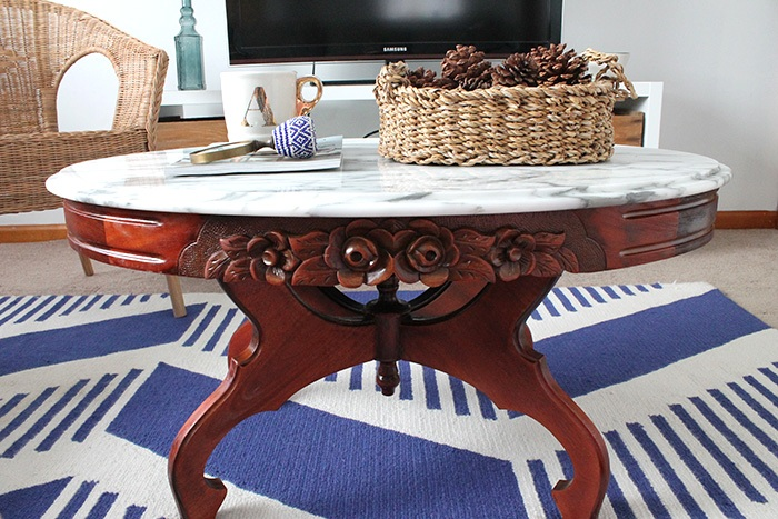 Coffee Table Refinished Before and After