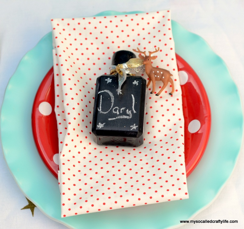 Easy Chalkboard Mini Liquor Bottle Favor Place Cards