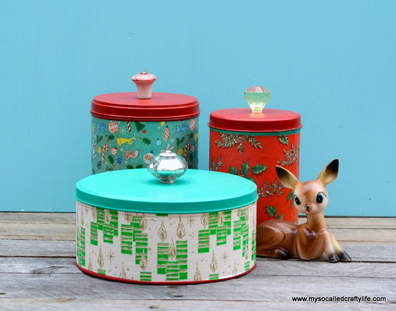 DIY Easy Upcycled Christmas Cannisters