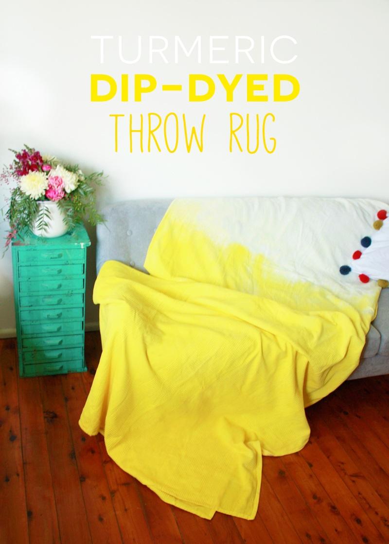 Turmeric Dip Dyed Throw Rug