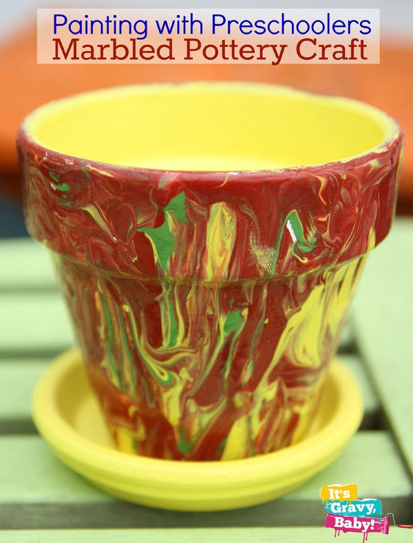Marbled Pottery Painting Preschool Craft It's Gravy, Baby!