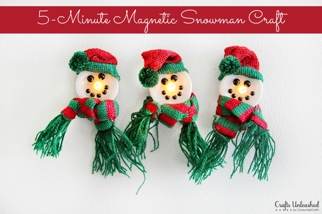 Snowman Crafts 5 Minute (Light up!) Magnet Tutorial