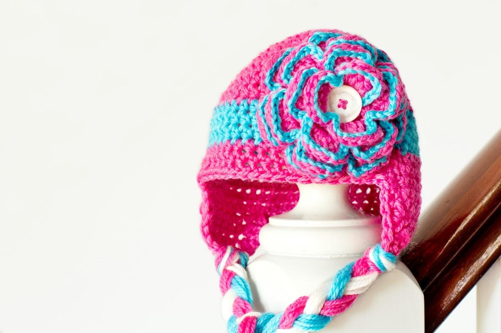 Floral Baby Earflap Hat Crochet Pattern