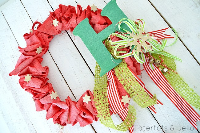 Holiday Spray Painted Canvas Ruffle Wreath!