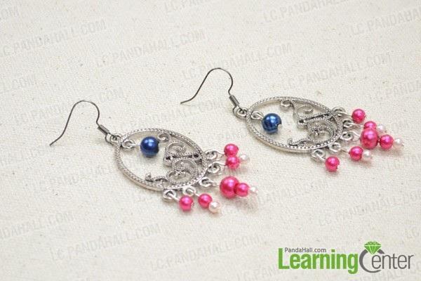 Tutorial on DIY Beaded Chandelier Earrings with Pink Pearls