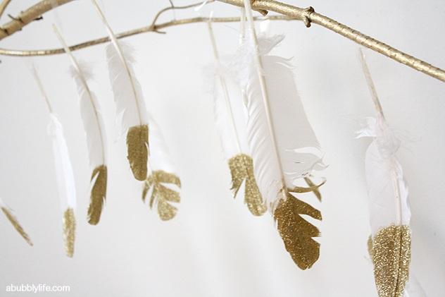 DIY Glitter Feathers Branch Chandelier